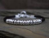 Silver beaded bracelet,  silver bracelet with beads, silver link bead bracelet, simple silver chain bracelet, black faux suede bracelet