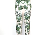 La marijuana Cannabis Leggings / Womens Yoga Weed Leggings imprimé / haute taille haute Compression Athletic fit / Vintage Illustration / L2202