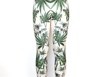 Marijuana Cannabis Leggings / Printed Womens Yoga Weed Leggings / High Waisted Athletic Compression fit / Vintage Illustration / L2202