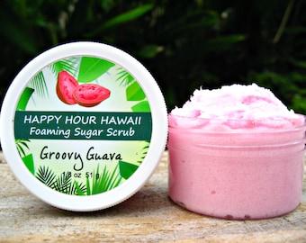 Guava Sugar Scrub, Mini Favor, Foaming Whipped Soap, Hawaiian Favor, Luau Favor, Bridesmaid Gift, Baby Shower Favor. 1.8 oz (51 g).