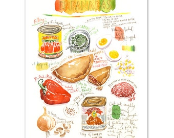 Latin america etsy empanada recipe print illustrated recipe latin american food poster spanish decor world forumfinder Gallery