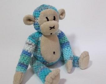 crocheted monkey, Amigurumi monkey. toy monkey, monkey plush, blue monkey, monkey doll, crocheted toy