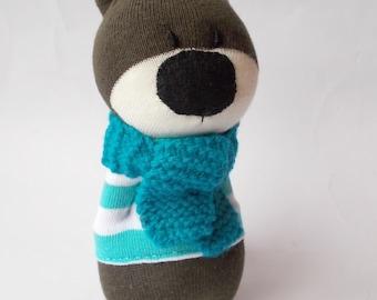 sock bear, toy bear, blue bear, sock animal, sock toy, sock creature, plush bear, stuffed bear, soft sculpture