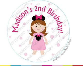Minnie Mouse Stickers, Birthday PRINTED round Stickers, tags, Girl Custom Stickers, Labels or Envelope Seals  A1271