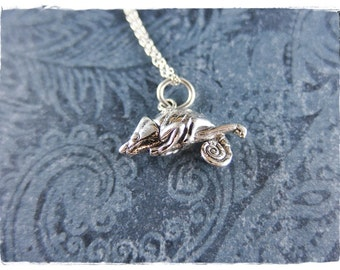 Silver Chameleon Necklace - Sterling Silver Chameleon Charm on a Delicate Sterling Silver Cable Chain or Charm Only