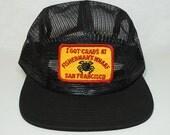 San Francisco I Got Crabs at Fisherman's Wharf Mesh 5 Panel Camper Hat Vintage Patch Black