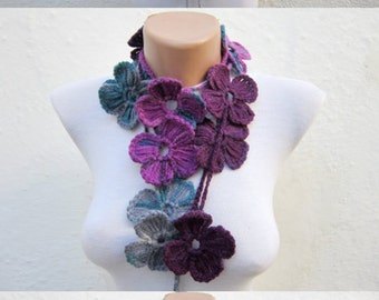 Scarf Crochet, Lariat Long Scarves, Flower Crochet Necklace, Floral Crocheted Jewelry, Women Crocheted Scarflette, Grey Purple Teal