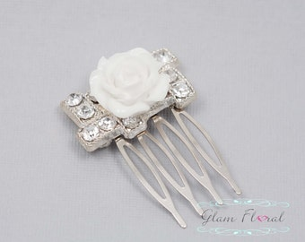 Elegant White Hair Comb,  white rose and rhinestones