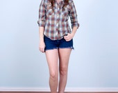 Women's Pearl Snap Shirt / 70's Western Soft Thin Plaid / Small