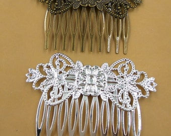 10 Filigree Floral Hair Combs Brass Antique Bronzed/ Silver Plated Hair Comb Wholesale- Z8515