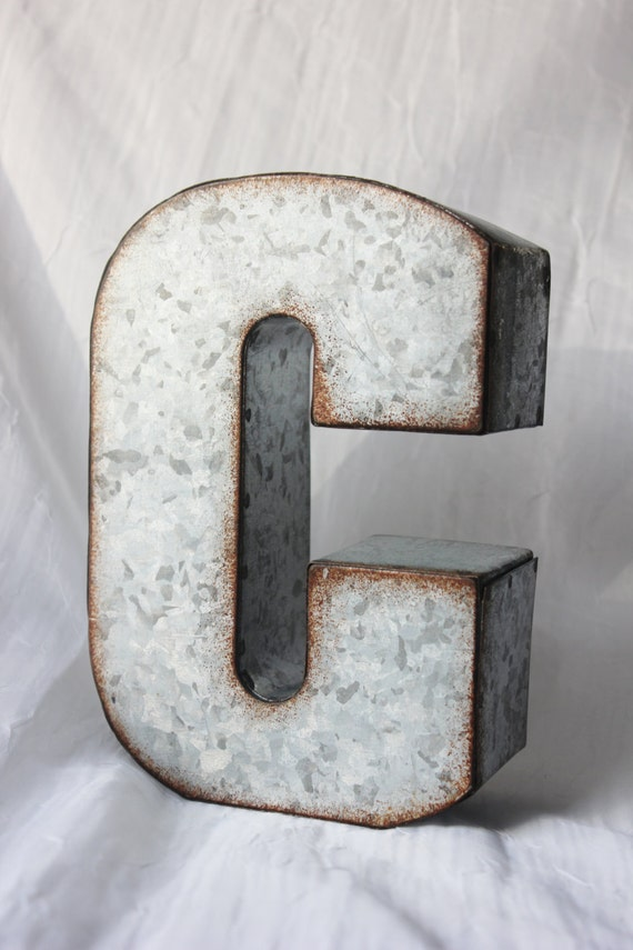 Sale large metal letter zinc steel initial home room decor for Large metal monogram letters