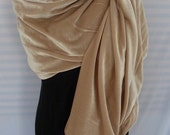 Champagne color velvet shawl scarf/Free shipping in U.S.
