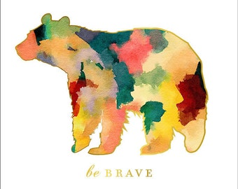 Animal Nursery Art, Woodland Nursery wall Art, Be Brave, Boy Nursery art, Watercolor Nursery Art, Bear Print, forest animal decor, aztec pri