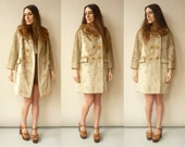 1960's Vintage Faux Fur Princess Swing Coat With Real Mink Fur Collar Size S/M