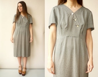 1950's Vintage Grey Rayon Wiggle Dress Size Large