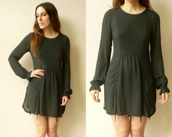 Vintage 1990's Grunge Semi Sheer Tunic Mini Dress Size Small