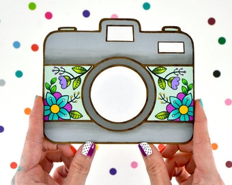 hand painted laser wood cut home decor / vintage inspired floral camera / tattoo inspired