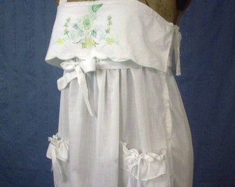 Young Edwardians  1970's White Cotton Embroidered Sundress Empire Waist Ladies S