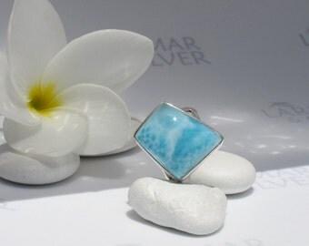 Larimarandsilver ring size 7, Mermaid Diamond - aqua Larimar, blue diamond, sky blue, topaz blue, blue diamond ring, handmade Larimar ring A