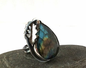 Labradorite and Sterling Silver Ring with a Moth - Size 9 - The Lovely Woods