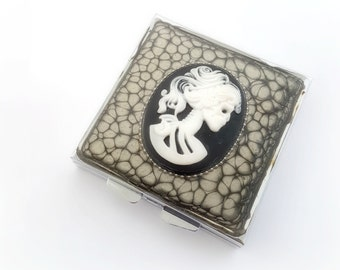 Zombie skeleton lady cameo pill box, gothic gift, dark accessory, spooky cameo mirror