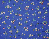 Fat Quarter, Blue Floral Print, Quilting Cotton Fabric, Small White Pink Flowers, 21 x 26, B44