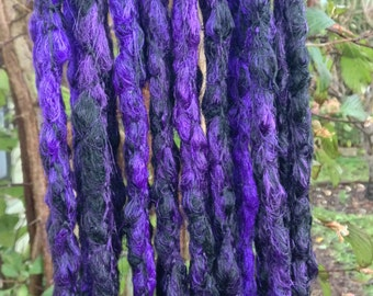 Black and Purple Crochet Synthetic Dreads x10 DE - long