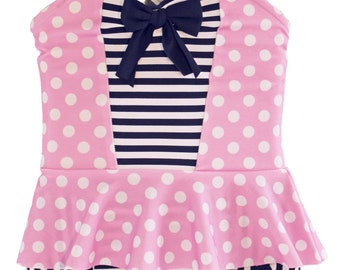 Peplum Tankini & Trunks in Pink Polkadot and Navy Stripe (Size 5 - 7) ***Markdown