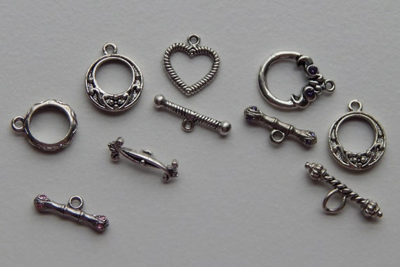 5 Sets of Metal Toggle Clasps - Silver Color, Fancy, Crystal Embellishments, Assorted Sizes Styles and Colors, Base Metal, Mixed Lots, Loop