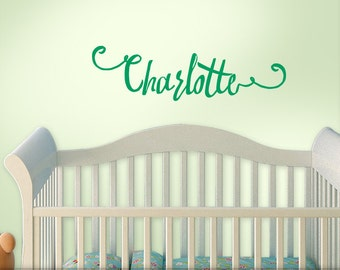 Baby Nursery Decal - Personalized Nursery Decal - Baby Name Nursery Wall Sticker - Boho Hipster Script Font Decal - Charlotte (shown)