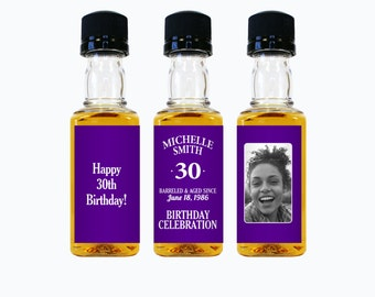Custom Whiskey Mini Bottle Labels Adult Birthday Favors Women Woman 21st 30th 40th 50th 60th Birthday Celebration Photo Whisky Gifts EB-1147