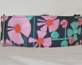 Mod Flowers Martingale Dog Collar - 1.5 or 2 Inch - pink teal floral fun orange dots garden