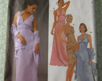 Misses Evening Dress in Two Lengths and Shawl Sizes 12 14 16 18 UNCUT Simplicity Pattern 5187