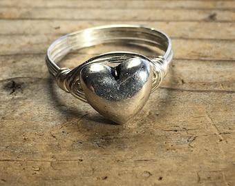 Silver Heart wire wrapped wrap ring - size 7.5 , 7 1/2 - simple love romance minimalist women teen girl men boy unisex jewelry
