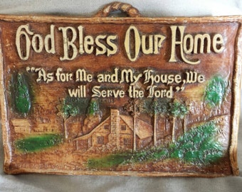 God Bless Our Home, As for Me and My house, We will Serve the Lord small wall plaque. Free Shipping