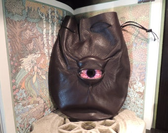 Large  Dark Brown Leather Bag with Red Eye---New Style---