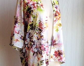 Kimono Top, Beach Coverup, White Tropical Floral