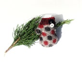 Felted Wool Mitten Christmas Ornament Primitive Rustic Maroon Gray Black Polka Dot
