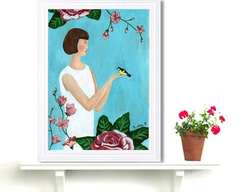 Retro Girl Art Deco Wall Art Fashion Turquoise Floral Bird Lady Acrylic Painting print Polka Dot Girl Drawing Naive Art Folk Roaring 1920