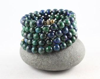 Lapis Chrysocolla Wrap Bracelet, Memory Wire Bracelet, Wrap Bracelet, Yoga Jewelry, Gem Cuff Bracelet, Cuff Bracelet, Gem Cuff, Yoga Jewelry