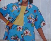 See and Sew Pattern - Button Front Camp Shirt and Elastic Waist Shorts - Butterick 5476 - Size 14, Bust 36