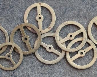 Vintage clock brass gears -- set of 8 -- D16
