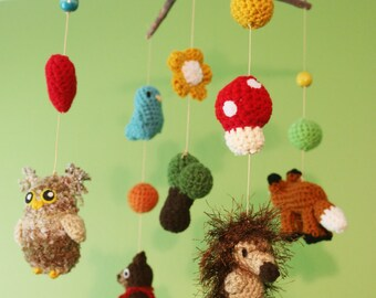Woodland Animals Crochet Nursery Mobile (Ready To Ship)