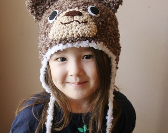 Crochet Brown Fuzzy Bear Hat (4T - Preteen) Ready To Ship