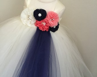 ivory, navy and coral girls tulle dress, navy and coral flower girl dress, navy and coral wedding, girls coral dress, coral wedding