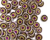 Indian Purple Acrylic Stone Small Bullion Appliques Decorative Golden Sewing Craft Dress Making Material Appliques By 1 Dozen /12Pcs APS278C