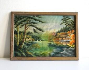 SALE Embroidered Silk Oriental Landscape