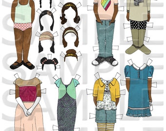 Hand Drawn Paper Dolls -- Black