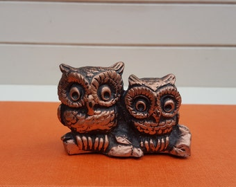 Coppercraft Owl Figurine  - Small Owlets on Branch - Oak Hill Vintage