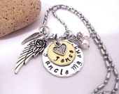 Uncle Memorial Jewelry, Uncle Memorial Necklace, My Uncle My Angel, Uncle Bereavement, Loss of Uncle, Uncle Loss